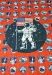 Dzianina jersey +elastan PANEL 70 x 50  Astronauta USA  red